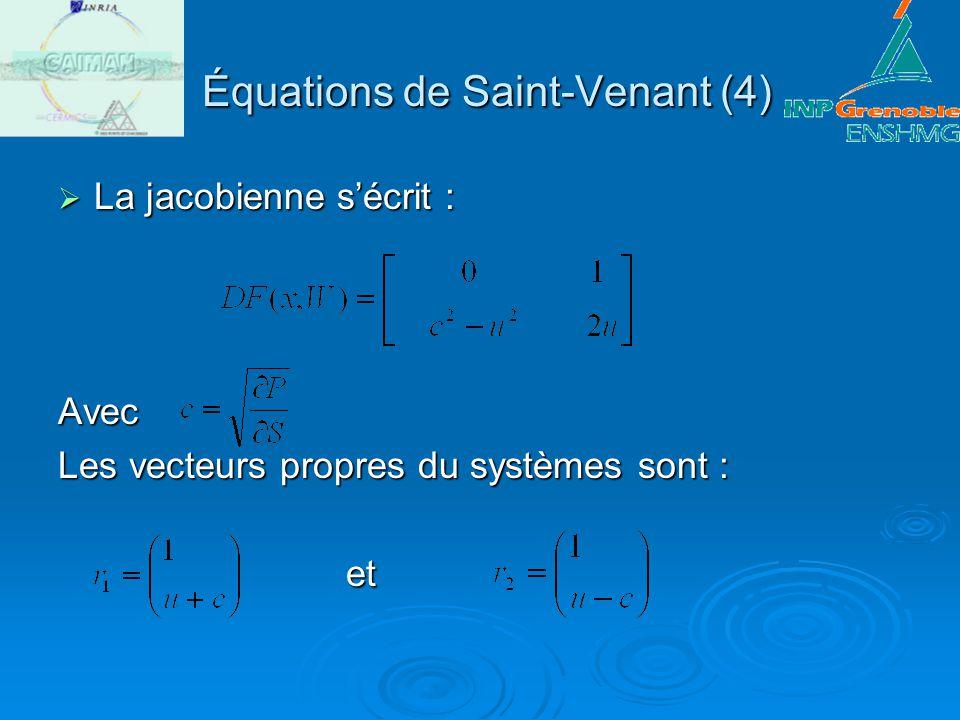 Équations de Saint-Venant (4) Équations de Saint-Venant (4) La jacobienne sécrit : La jacobienne sécrit :Avec Les vecteurs propres du systèmes sont :
