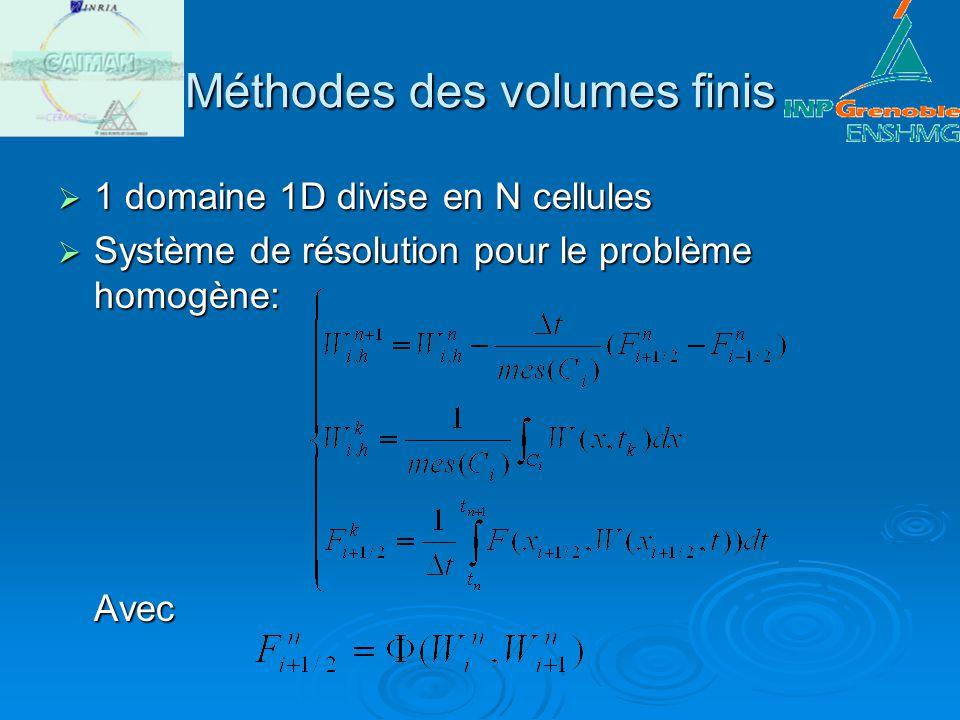 Méthodes des volumes finis 1 domaine 1D divise en N cellules 1 domaine 1D divise en N cellules Système de résolution pour le problème homogène: Avec S