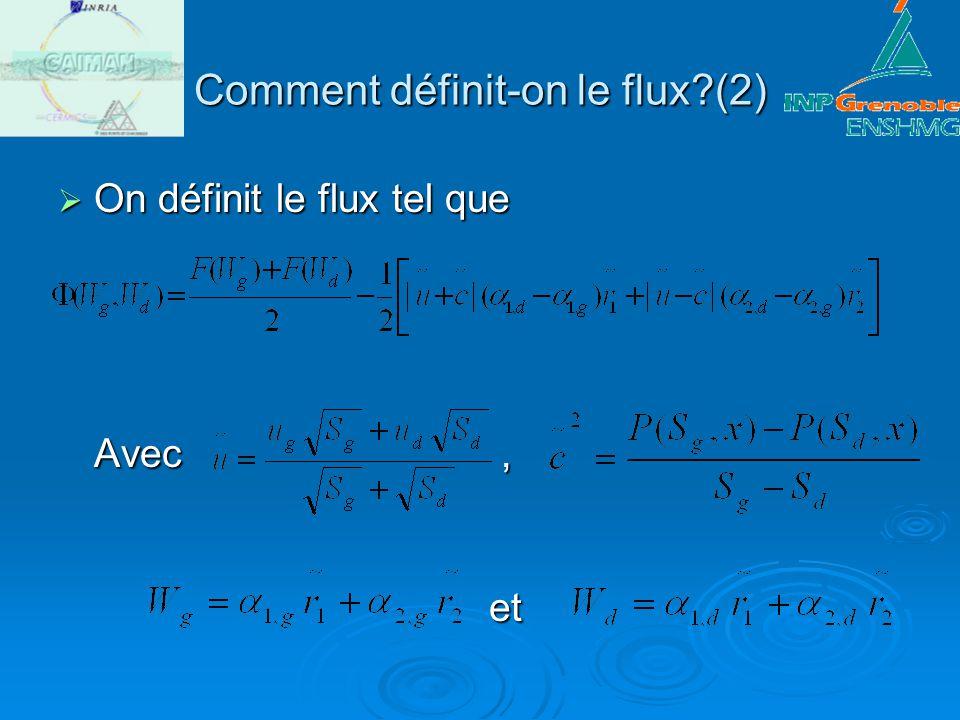 Comment définit-on le flux?(2) On définit le flux tel que Avec, et On définit le flux tel que Avec, et