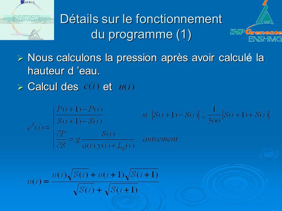 Détails sur le fonctionnement du programme (1) Nous calculons la pression après avoir calcul la hauteur d eau. Nous calculons la pression après avoir