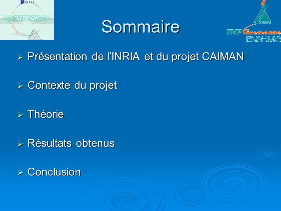 Sommaire Présentation de lINRIA et du projet CAIMAN Présentation de lINRIA et du projet CAIMAN Contexte du projet Contexte du projet Théorie Théorie R