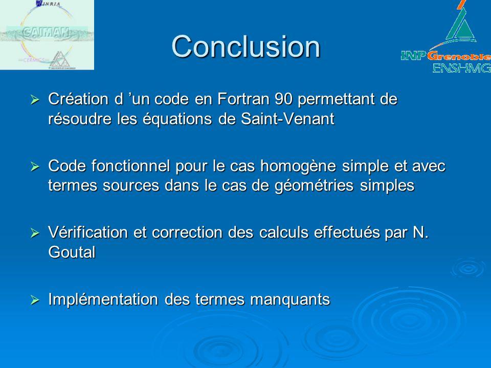 Conclusion Création d un code en Fortran 90 permettant de résoudre les équations de Saint-Venant Création d un code en Fortran 90 permettant de résoud