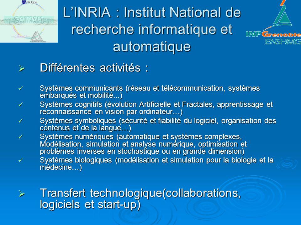 LINRIA : Institut National de recherche informatique et automatique Différentes activités : Différentes activités : Systèmes communicants (réseau et t