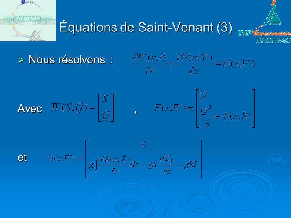 Équations de Saint-Venant (4) Équations de Saint-Venant (4) La jacobienne sécrit : La jacobienne sécrit :Avec Les vecteurs propres du systèmes sont : et