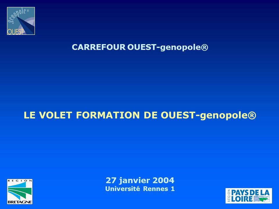 CARREFOUR OUEST-genopole® 27 janvier 2004 Université Rennes 1 LE VOLET FORMATION DE OUEST-genopole®