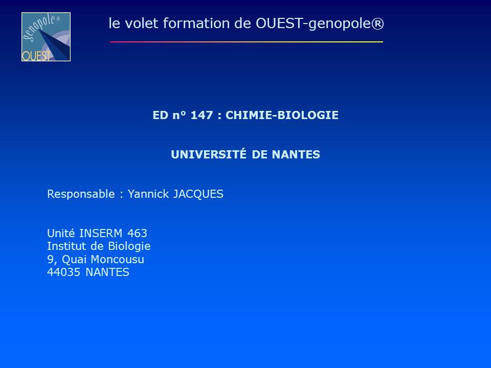 ED n° 147 : CHIMIE-BIOLOGIE UNIVERSITÉ DE NANTES Responsable : Yannick JACQUES Unité INSERM 463 Institut de Biologie 9, Quai Moncousu 44035 NANTES le