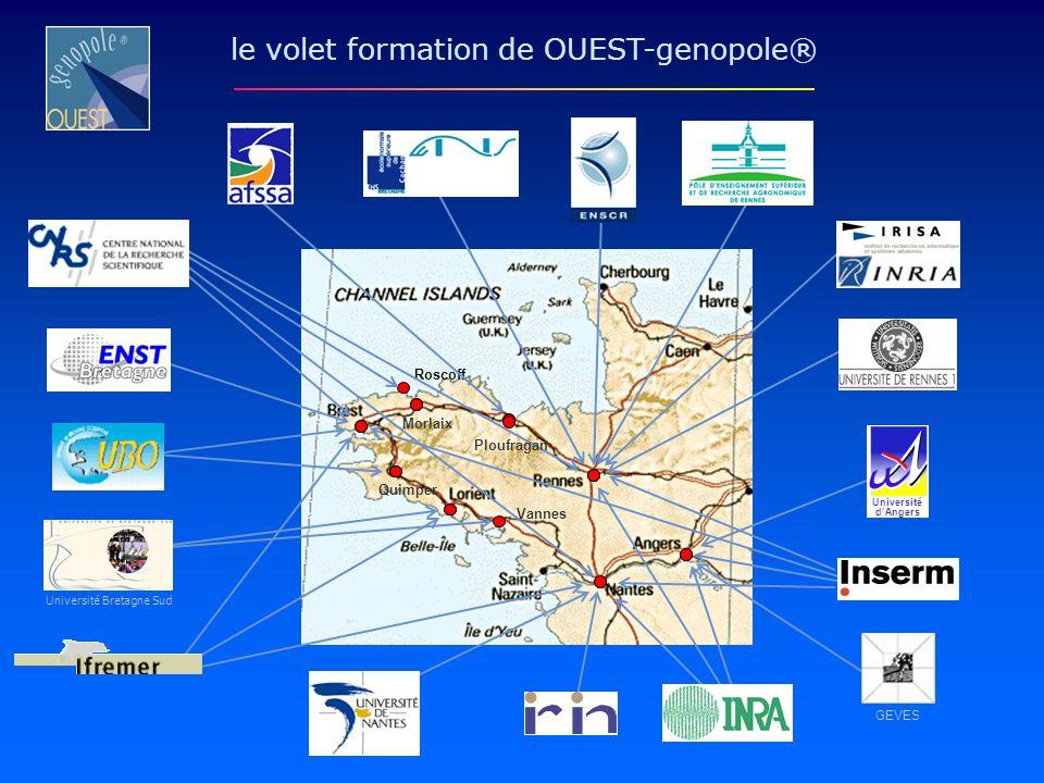 Roscoff Morlaix Quimper le volet formation de OUEST-genopole® Vannes Université Bretagne Sud Ploufragan GEVES Université dAngers