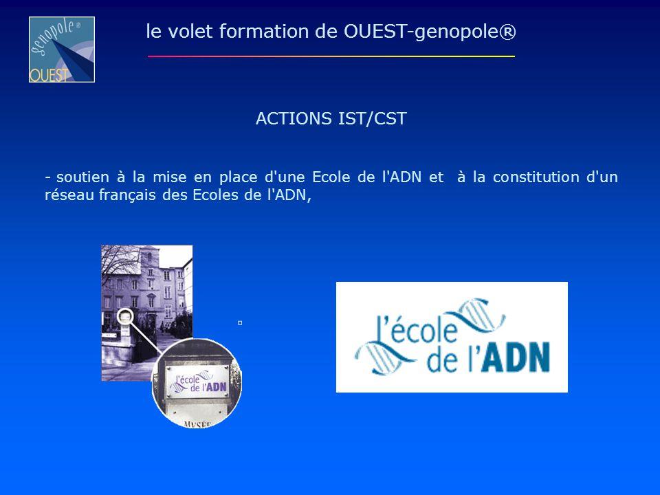 ACTIONS IST/CST - soutien à la mise en place d'une Ecole de l'ADN et à la constitution d'un réseau français des Ecoles de l'ADN, le volet formation de