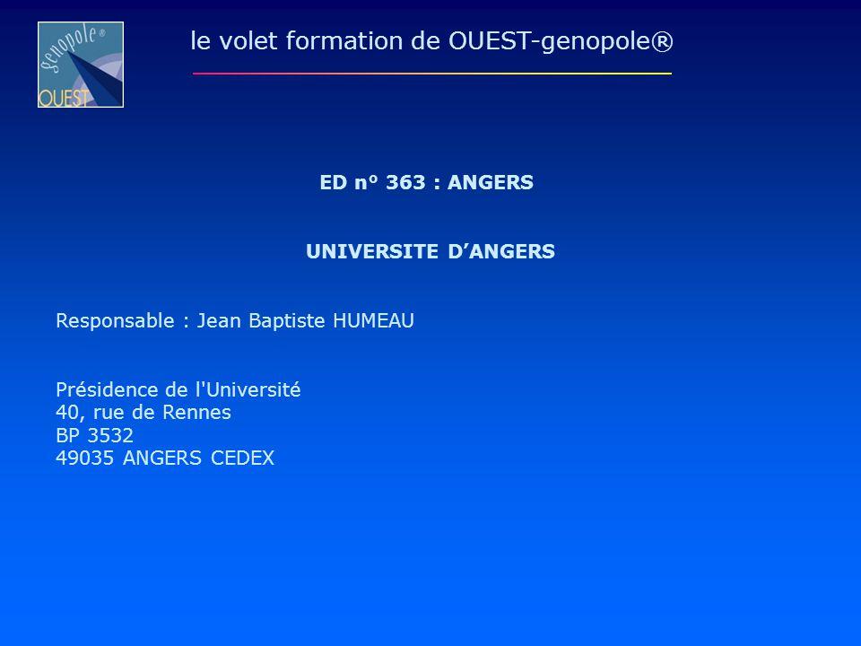 ED n° 363 : ANGERS UNIVERSITE DANGERS Responsable : Jean Baptiste HUMEAU Présidence de l'Université 40, rue de Rennes BP 3532 49035 ANGERS CEDEX le vo