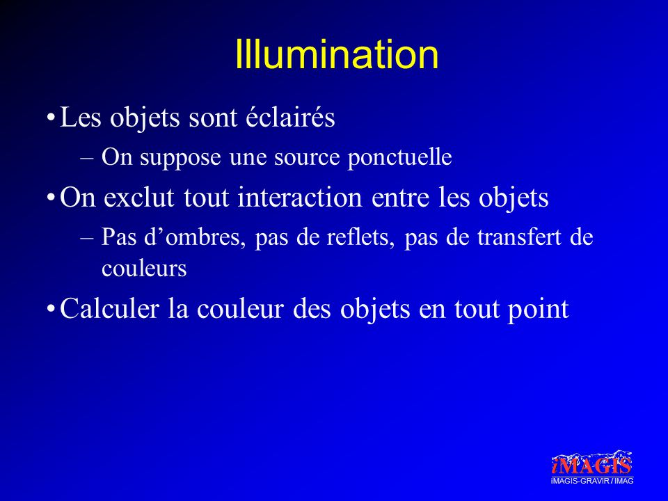 iMAGIS-GRAVIR / IMAG Illumination Les objets sont éclairés –On suppose une source ponctuelle On exclut tout interaction entre les objets –Pas dombres, pas de reflets, pas de transfert de couleurs Calculer la couleur des objets en tout point