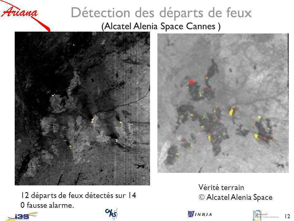 12 Détection des départs de feux (Alcatel Alenia Space Cannes ) Vérité terrain Alcatel Alenia Space 12 départs de feux détectés sur 14 0 fausse alarme.
