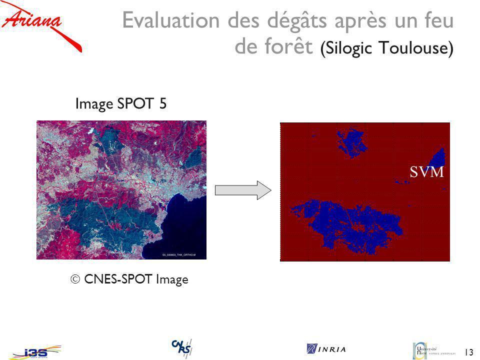 13 Image SPOT 5 SVM K-NN Evaluation des dégâts après un feu de forêt (Silogic Toulouse) CNES-SPOT Image