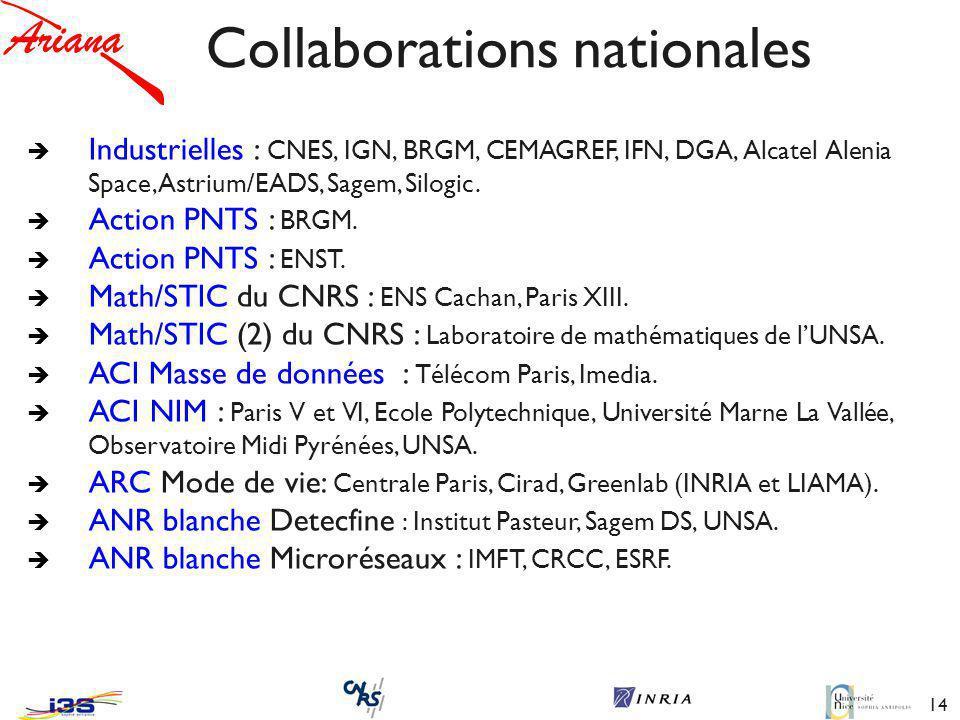 14 Collaborations nationales è Industrielles : CNES, IGN, BRGM, CEMAGREF, IFN, DGA, Alcatel Alenia Space, Astrium/EADS, Sagem, Silogic.