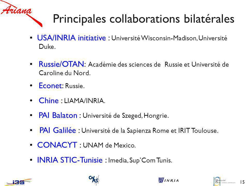 15 Principales collaborations bilatérales USA/INRIA initiative : Université Wisconsin-Madison, Université Duke.