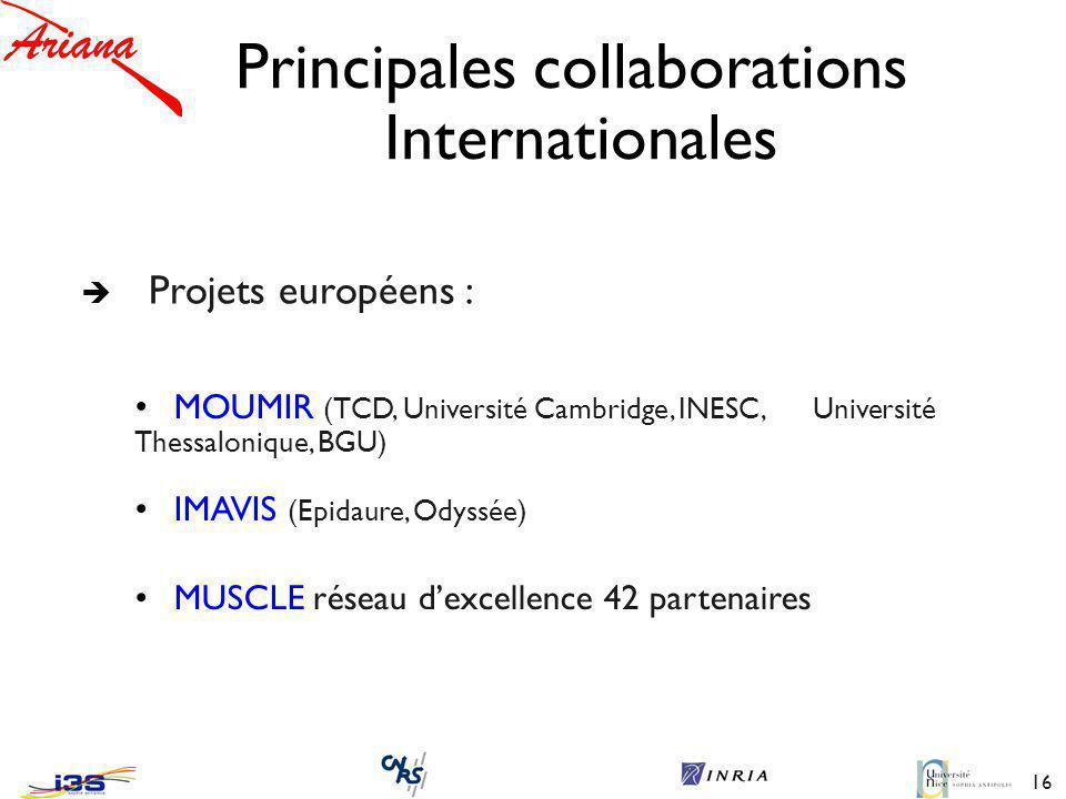 16 Principales collaborations Internationales è Projets européens : MOUMIR (TCD, Université Cambridge, INESC, Université Thessalonique, BGU) IMAVIS (Epidaure, Odyssée) MUSCLE réseau dexcellence 42 partenaires