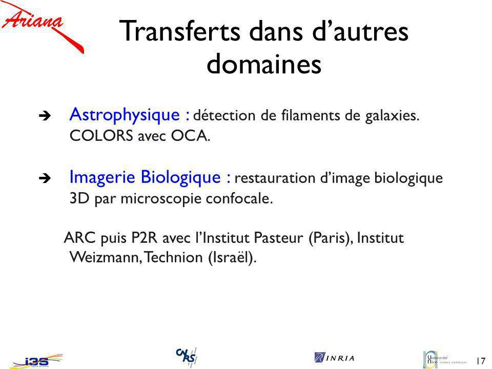 17 Transferts dans dautres domaines è Astrophysique : détection de filaments de galaxies.
