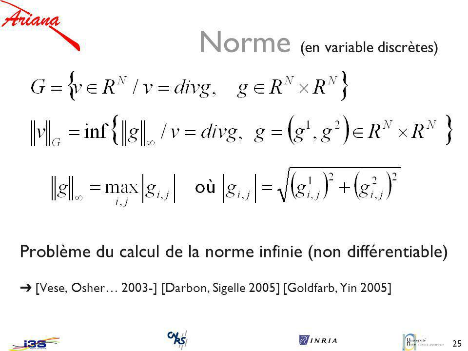 25 Norme (en variable discrètes) Problème du calcul de la norme infinie (non différentiable) [Vese, Osher… 2003-] [Darbon, Sigelle 2005] [Goldfarb, Yin 2005]