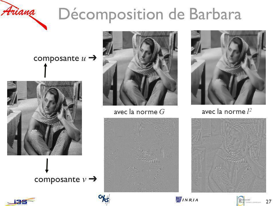 27 Décomposition de Barbara composante u avec la norme G avec la norme l 2 composante v