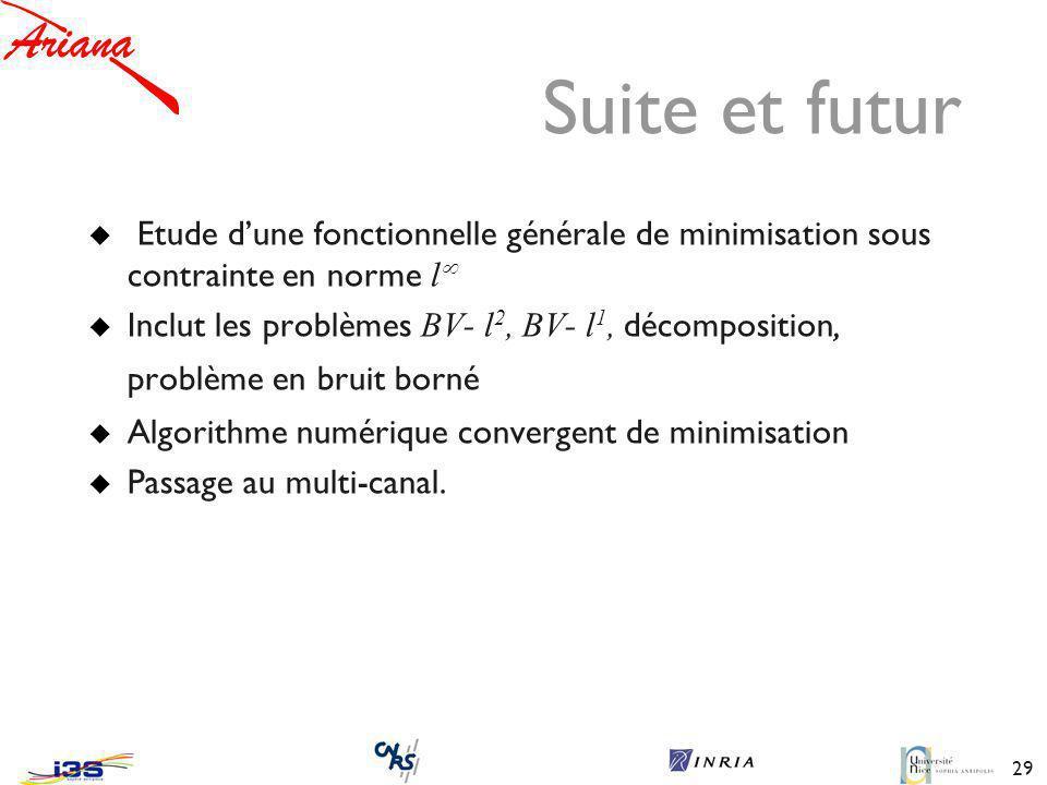 29 Suite et futur Etude dune fonctionnelle générale de minimisation sous contrainte en norme l Inclut les problèmes BV- l 2, BV- l 1, décomposition, problème en bruit borné Algorithme numérique convergent de minimisation Passage au multi-canal.