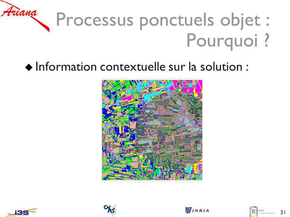 31 Processus ponctuels objet : Pourquoi ? Information contextuelle sur la solution :