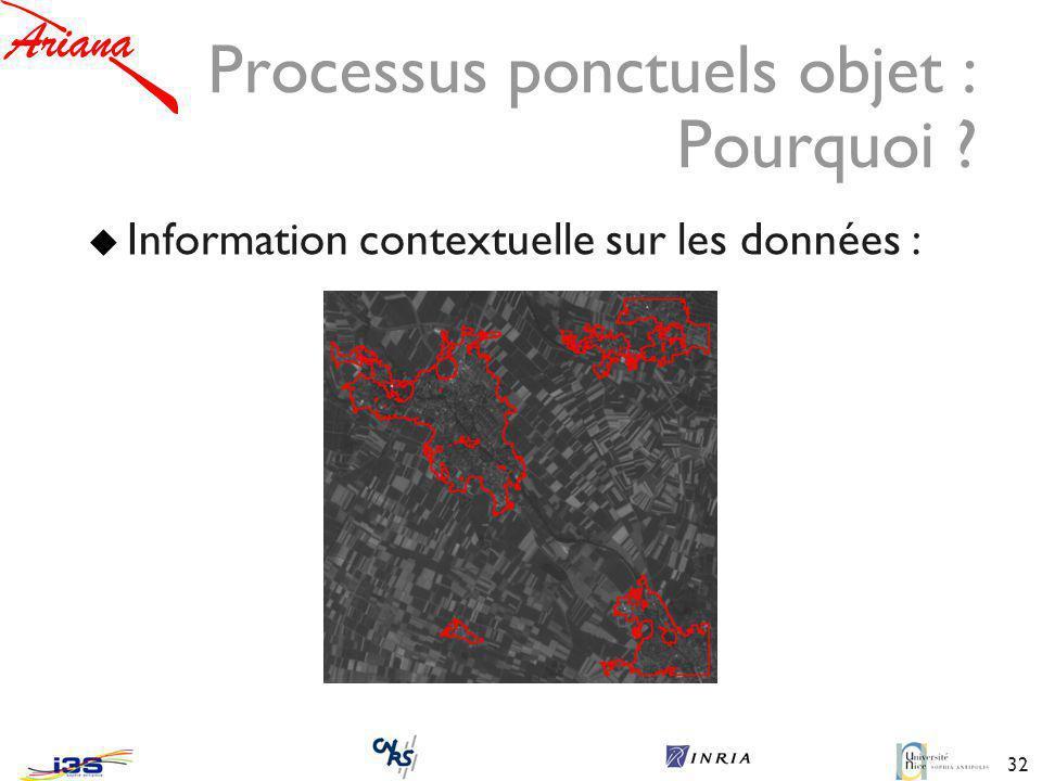 32 Processus ponctuels objet : Pourquoi ? Information contextuelle sur les données :