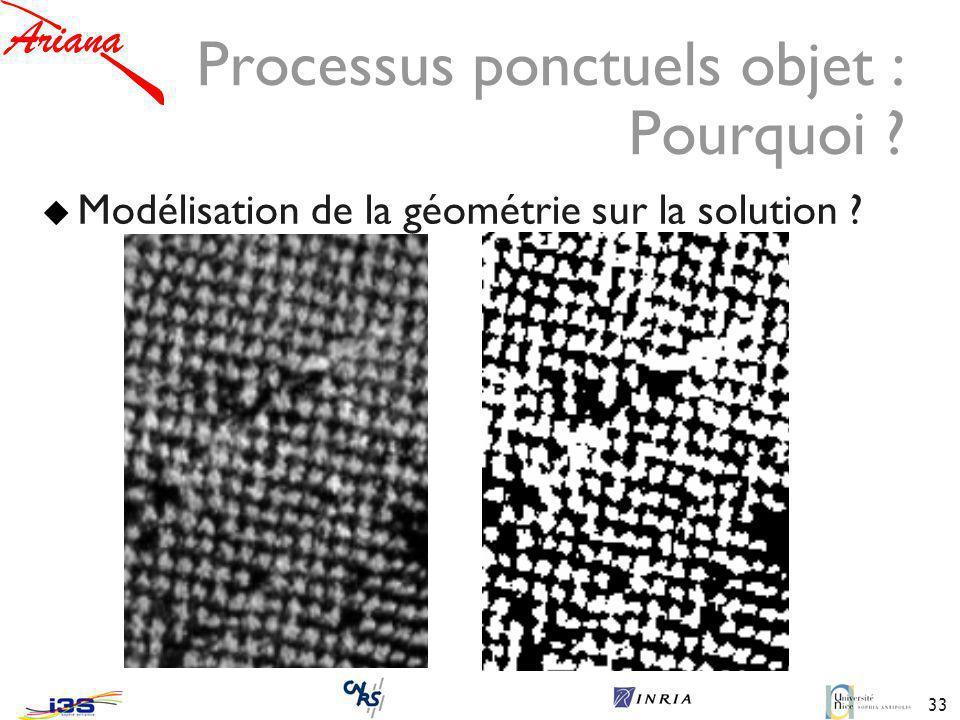 33 Processus ponctuels objet : Pourquoi ? Modélisation de la géométrie sur la solution ?
