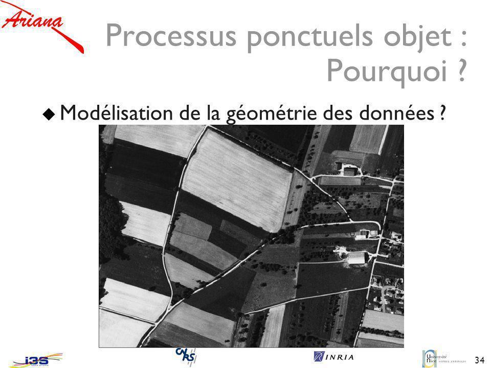 34 Processus ponctuels objet : Pourquoi ? Modélisation de la géométrie des données ?
