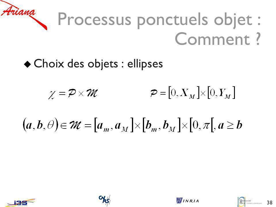 38 Processus ponctuels objet : Comment ? Choix des objets : ellipses