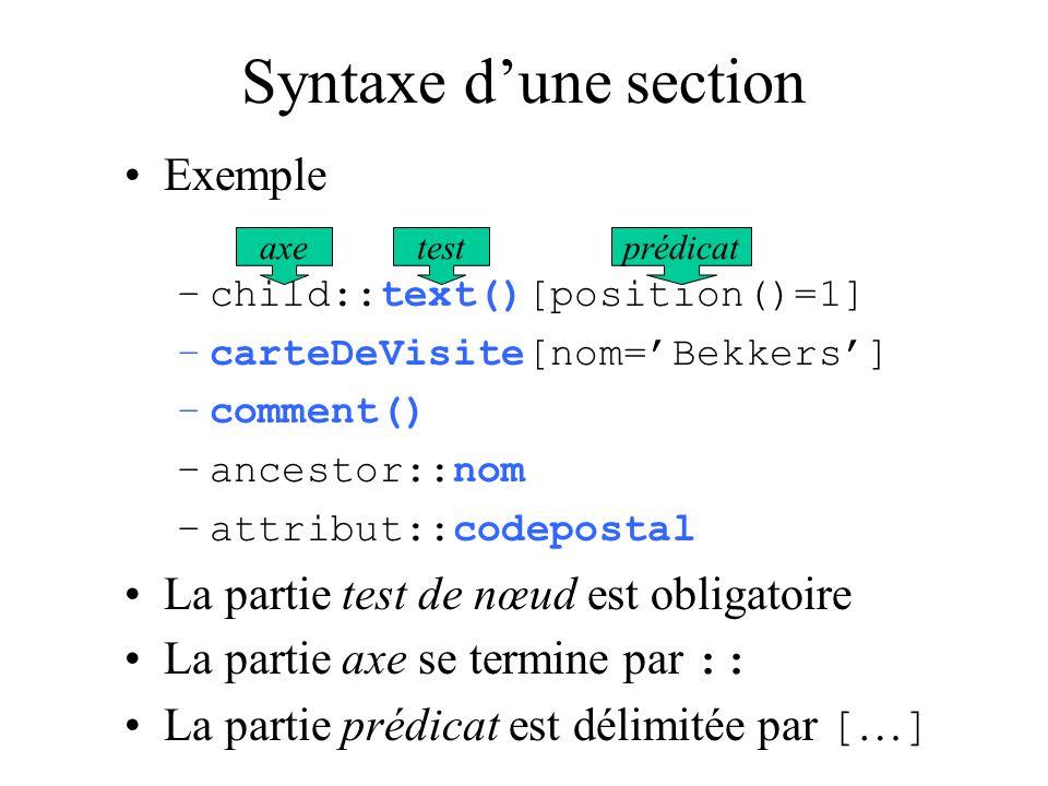 Syntaxe dune section Exemple –child::text()[position()=1] –carteDeVisite[nom=Bekkers] –comment() –ancestor::nom –attribut::codepostal La partie test d