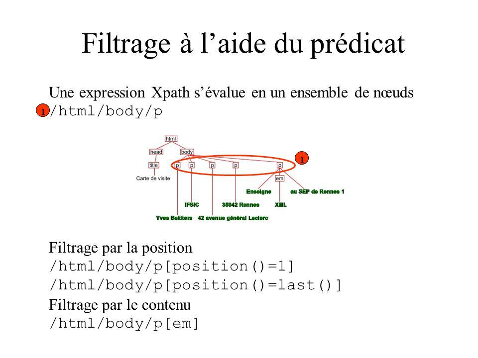 Filtrage à laide du prédicat Filtrage par la position /html/body/p[position()=1] /html/body/p[position()=last()] Filtrage par le contenu /html/body/p[