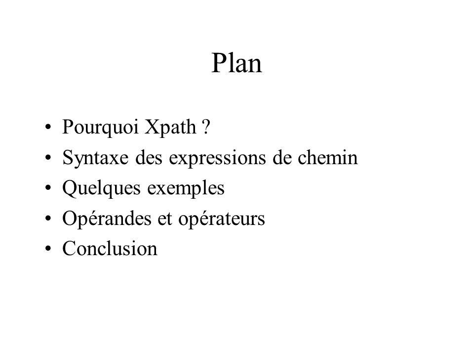 Plan Pourquoi Xpath ? Syntaxe des expressions de chemin Quelques exemples Opérandes et opérateurs Conclusion