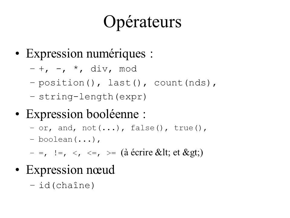 Opérateurs Expression numériques : –+, -, *, div, mod –position(), last(), count(nds), –string-length(expr) Expression booléenne : –or, and, not(...),