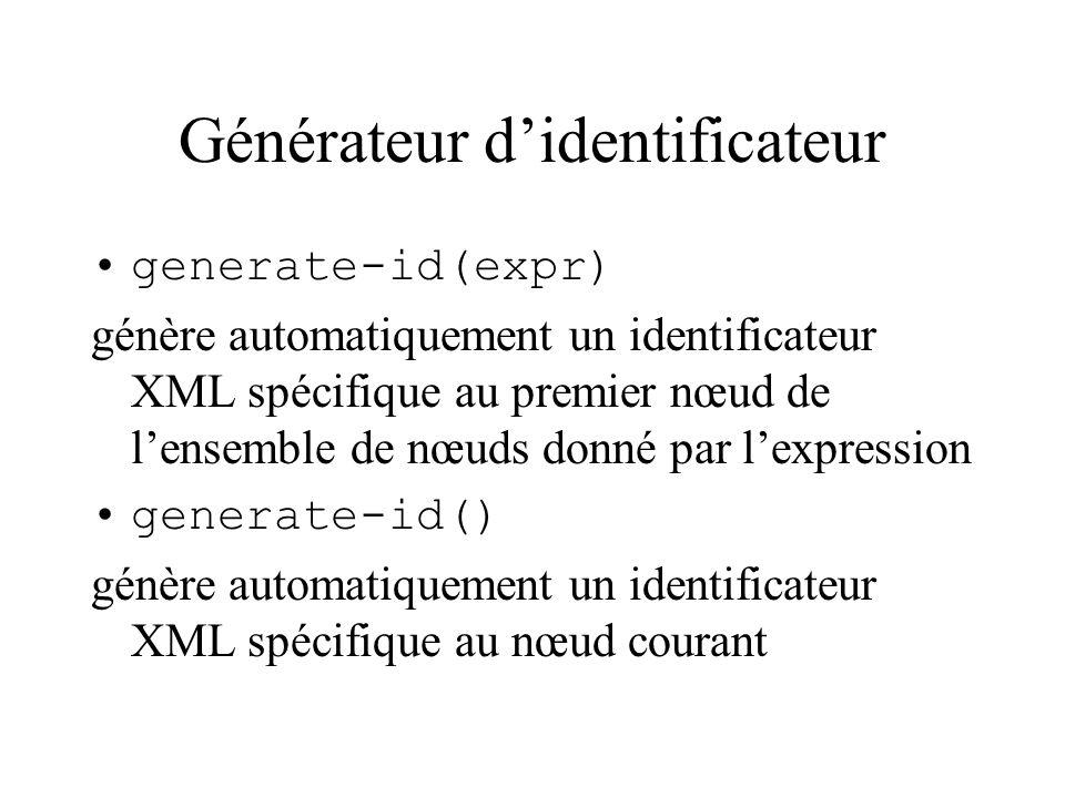 Générateur didentificateur generate-id(expr) génère automatiquement un identificateur XML spécifique au premier nœud de lensemble de nœuds donné par l