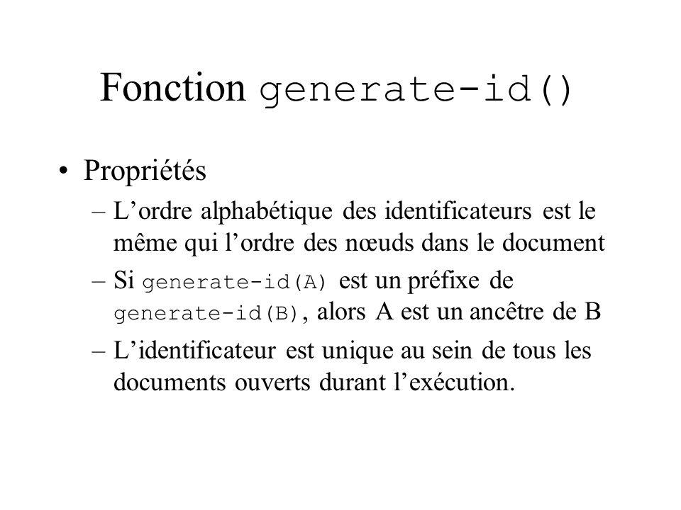 Fonction generate-id() Propriétés –Lordre alphabétique des identificateurs est le même qui lordre des nœuds dans le document –Si generate-id(A) est un