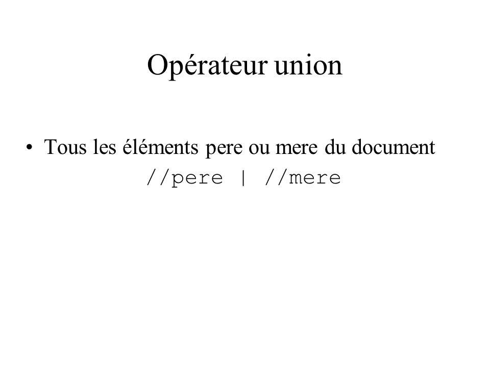 Opérateur union Tous les éléments pere ou mere du document //pere | //mere
