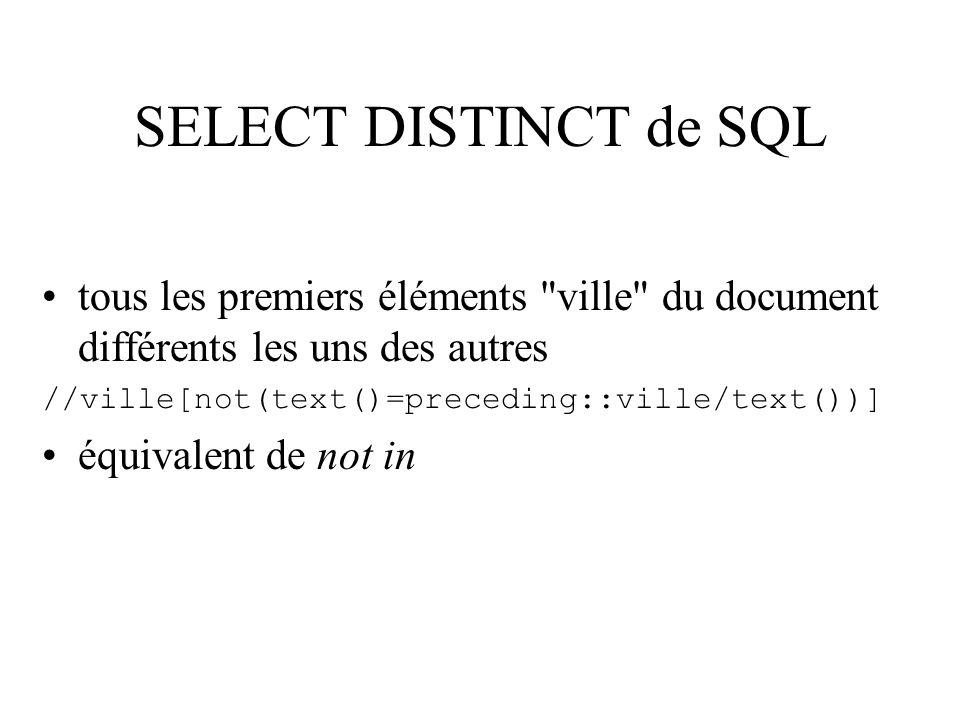 SELECT DISTINCT de SQL tous les premiers éléments