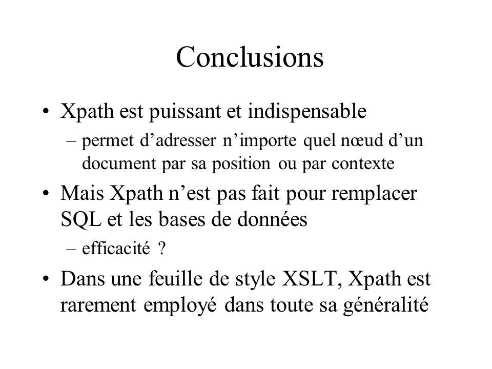 Conclusions Xpath est puissant et indispensable –permet dadresser nimporte quel nœud dun document par sa position ou par contexte Mais Xpath nest pas