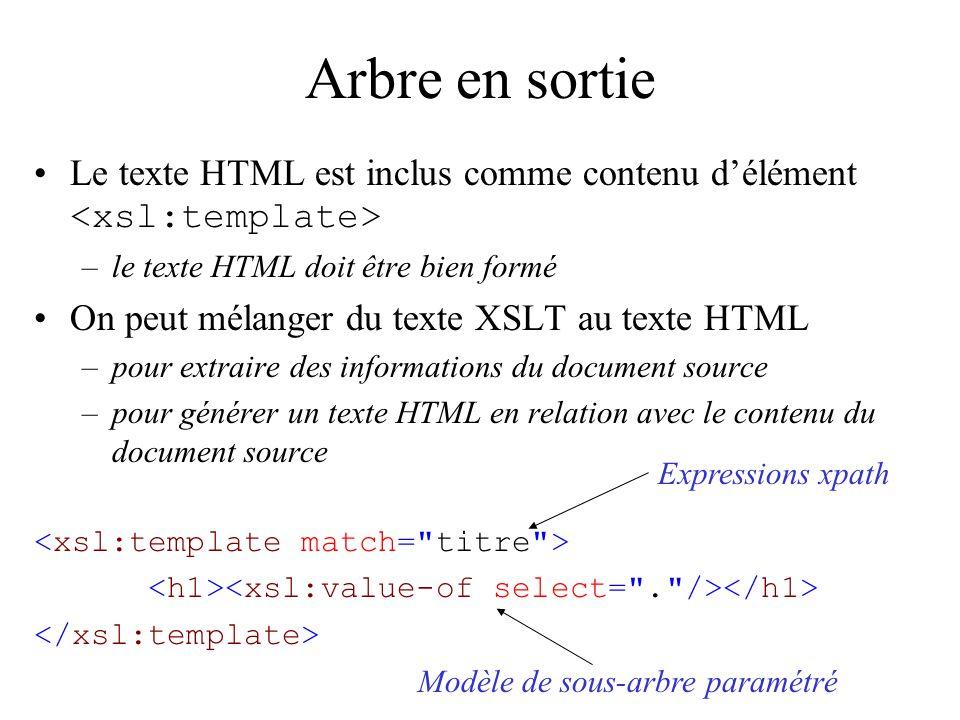 Arbre en sortie Expressions xpath Modèle de sous-arbre paramétré Le texte HTML est inclus comme contenu délément –le texte HTML doit être bien formé On peut mélanger du texte XSLT au texte HTML –pour extraire des informations du document source –pour générer un texte HTML en relation avec le contenu du document source