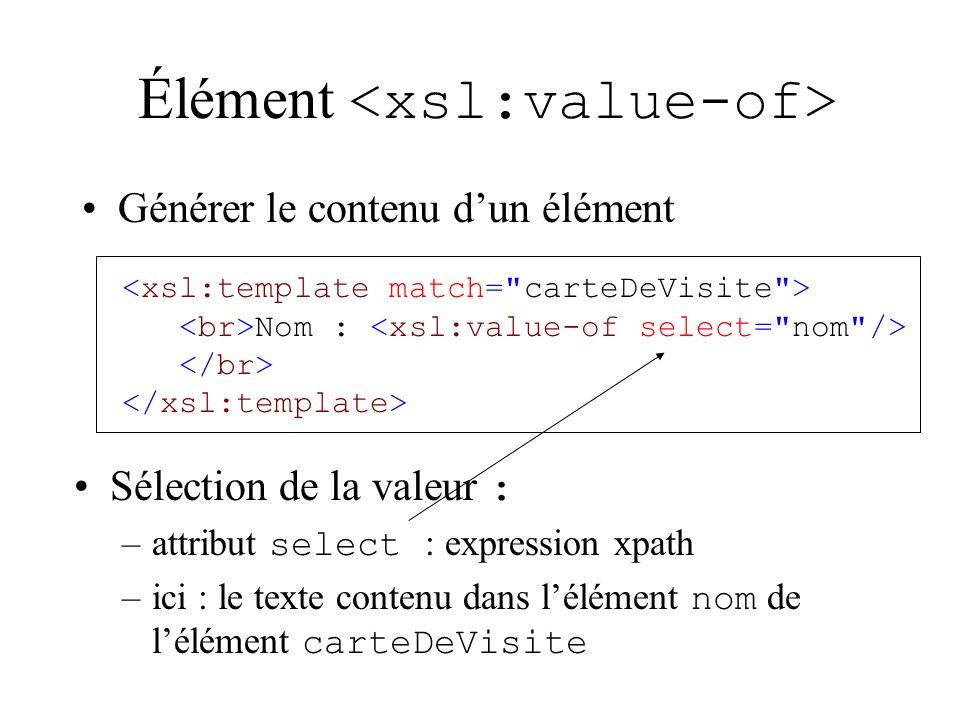 Élément Nom : Sélection de la valeur : –attribut select : expression xpath –ici : le texte contenu dans lélément nom de lélément carteDeVisite Générer le contenu dun élément