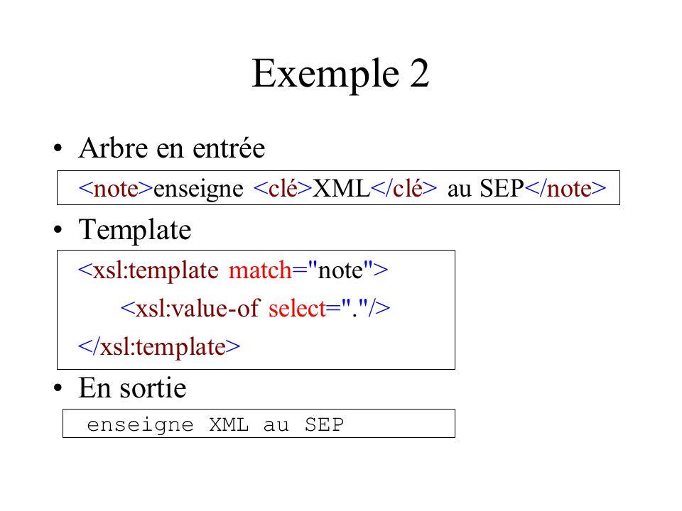 Exemple 2 Arbre en entrée enseigne XML au SEP Template En sortie enseigne XML au SEP