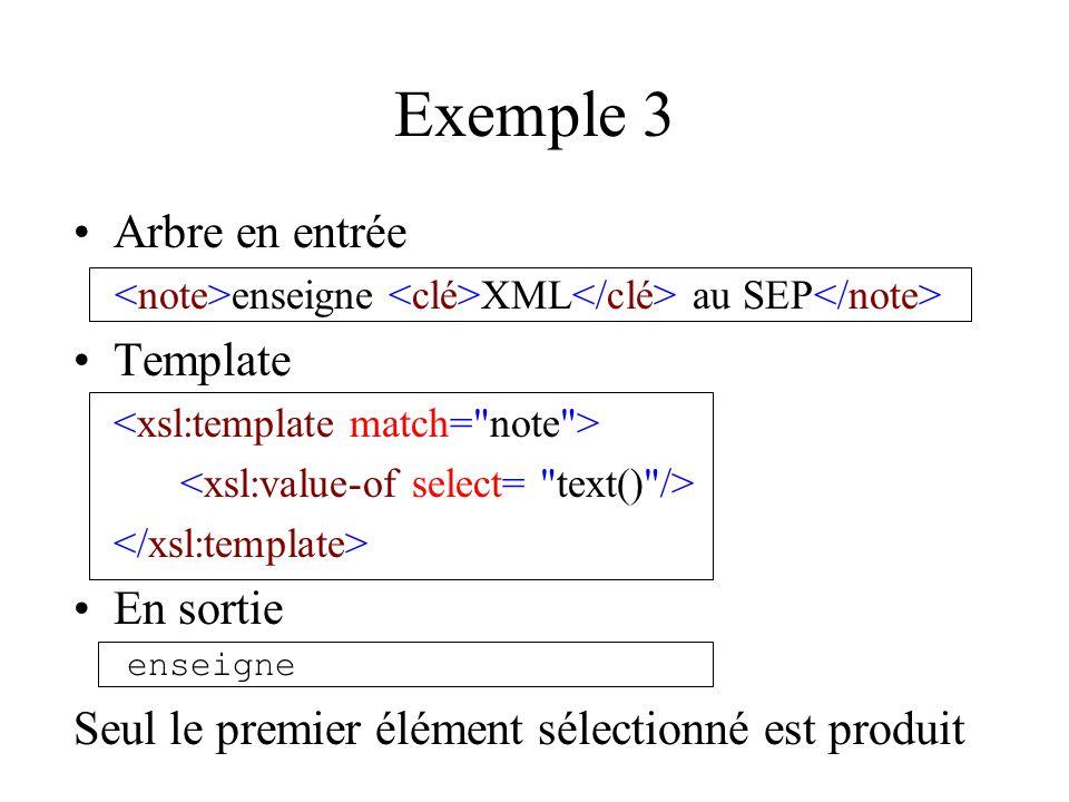 Exemple 3 Arbre en entrée enseigne XML au SEP Template En sortie enseigne Seul le premier élément sélectionné est produit