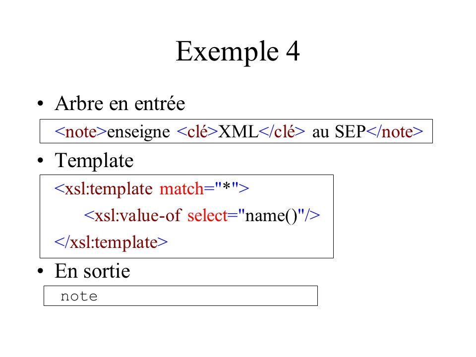 Exemple 4 Arbre en entrée enseigne XML au SEP Template En sortie note