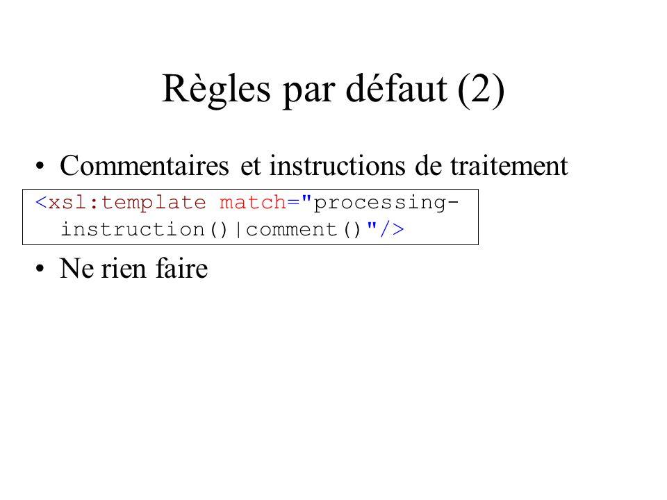 Règles par défaut (2) Commentaires et instructions de traitement Ne rien faire