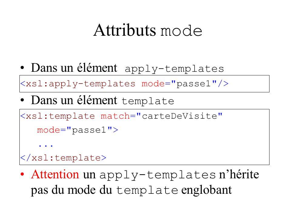 Attributs mode Dans un élément apply-templates Dans un élément template <xsl:template match= carteDeVisite mode= passe1 >...