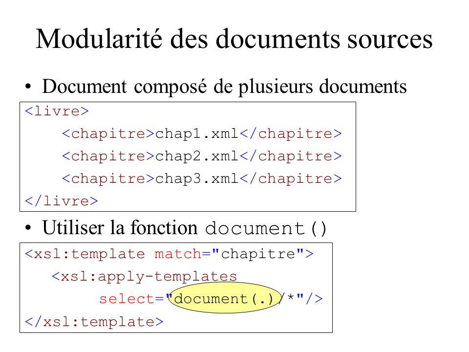 Modularité des documents sources Document composé de plusieurs documents chap1.xml chap2.xml chap3.xml Utiliser la fonction document() <xsl:apply-templates select= document(.)/* />