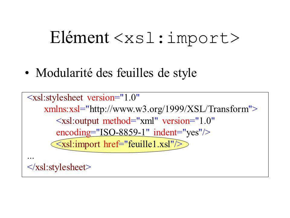 Elément Modularité des feuilles de style <xsl:stylesheet version= 1.0 xmlns:xsl= http://www.w3.org/1999/XSL/Transform > <xsl:output method= xml version= 1.0 encoding= ISO-8859-1 indent= yes />...