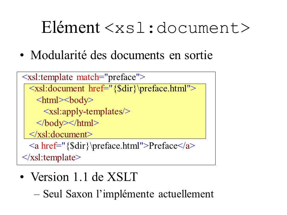 Elément Modularité des documents en sortie Preface Version 1.1 de XSLT –Seul Saxon limplémente actuellement