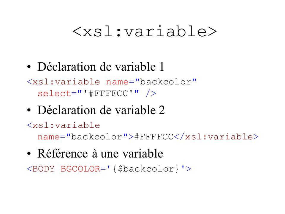 Déclaration de variable 1 Déclaration de variable 2 #FFFFCC Référence à une variable