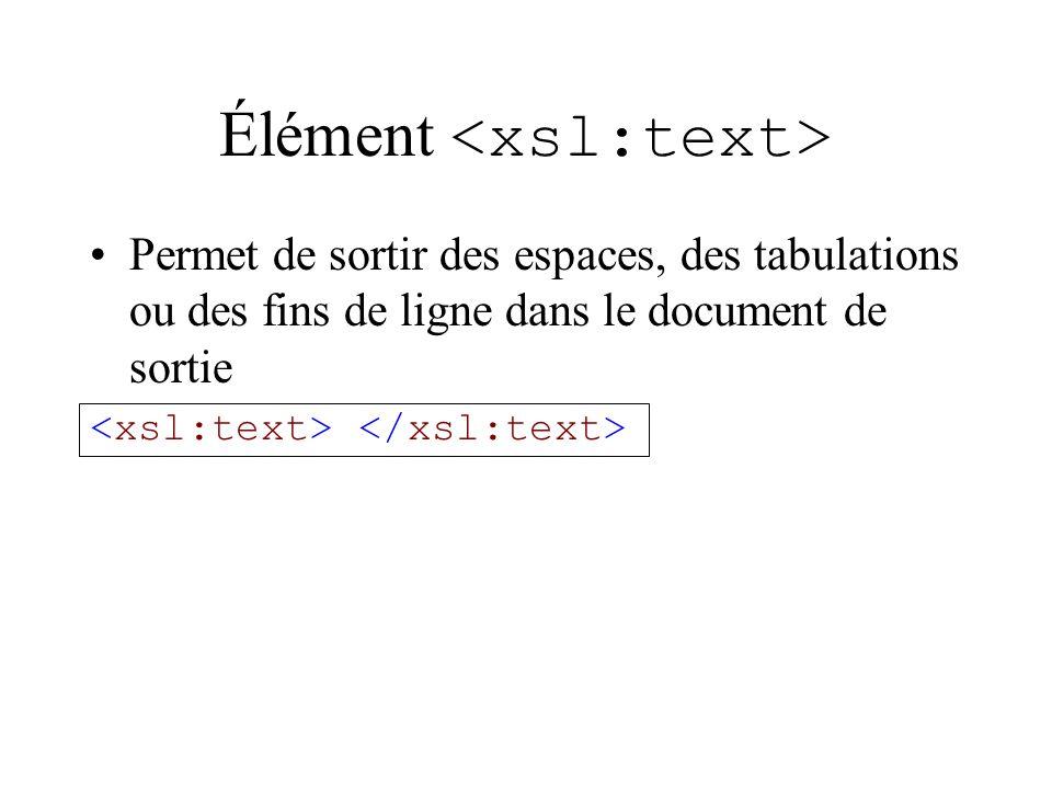Élément Permet de sortir des espaces, des tabulations ou des fins de ligne dans le document de sortie