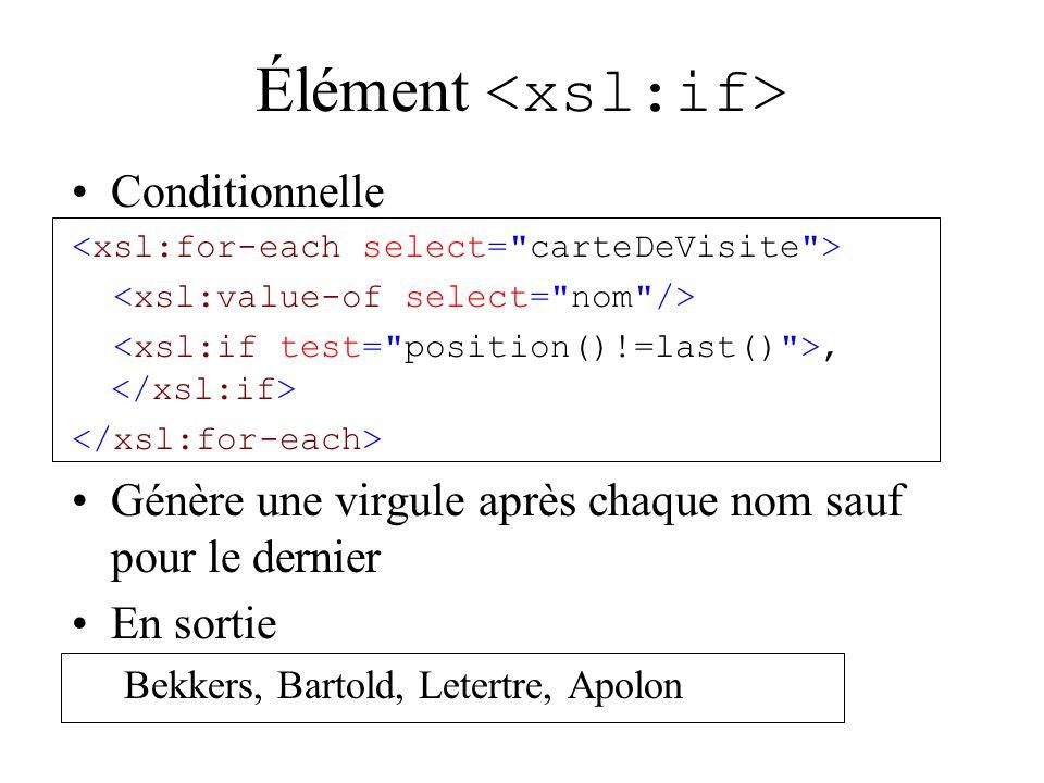 Élément Conditionnelle, Génère une virgule après chaque nom sauf pour le dernier En sortie Bekkers, Bartold, Letertre, Apolon